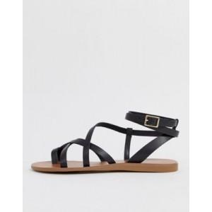 ALDO Gludda leather strappy toe loop sandal in black