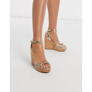 ALDO Kaoedia heel wedge sandal in gold leather