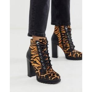ALDO Marille chunky sole heel hiker boot in animal multi