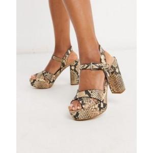 ALDO Platina platform heel sandal in natural snake