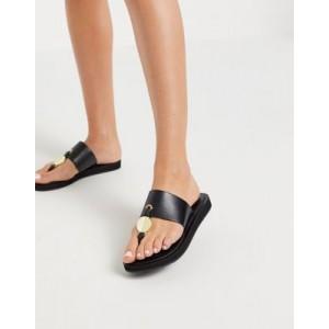 ALDO Yilania toepost flat sandal with gold metal trim