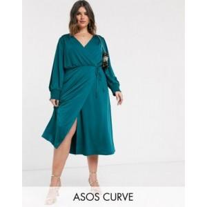 ASOS DESIGN Curve jersey satin wrap midi dress in teal