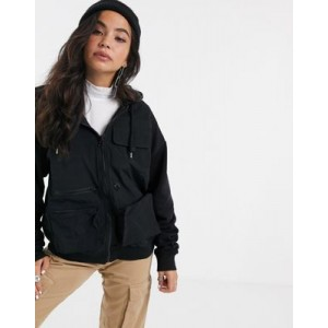 ASOS DESIGN hoodie with zip and utility pockets