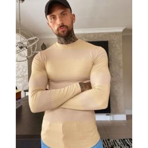 ASOS DESIGN muscle fit long sleeve t-shirt in fancy rib in brown