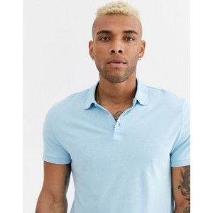 ASOS DESIGN organic jersey polo in blue