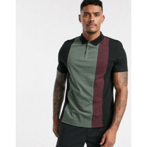 ASOS DESIGN organic polo shirt with vertical color block in black