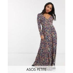 ASOS DESIGN Petite long sleeve button through maxi tea dress in print