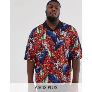 ASOS DESIGN Plus oversized revere polo with floral and leopard print