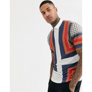 ASOS DESIGN relaxed polo with all over chain print