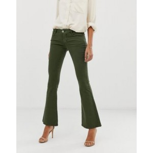 ASOS DESIGN super low rise flare jeans in khaki