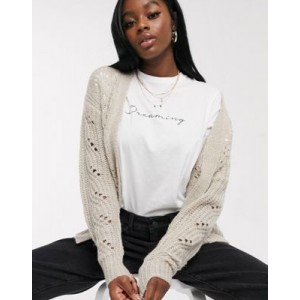 Brave Soul bounce pointelle cardigan in biscuit