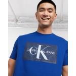 Calvin Klein Jeans box monogram mesh logo t-shirt in blue