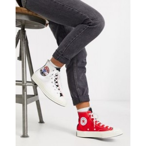 Converse Chuck '70 split logo sneakers in white/red