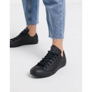 Converse Chuck Taylor All Star Ox black leather monochrome sneakers