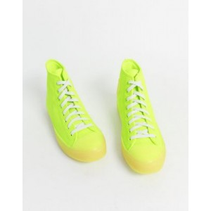 Converse Chuck Taylor leather sneakers in neon yellow