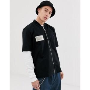 Diesel S-Drima zip through short sleeve shirt in black