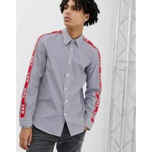 Diesel S-Nori taped stripe shirt in blue
