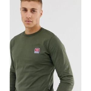 Diesel T-Diego-Div logo badge long sleeve t-shirt in khaki