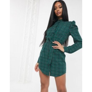 Missguided belted check shirt dress with puff sleeves