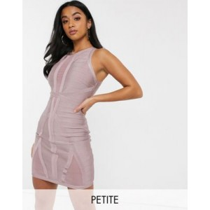 Missguided Petite bandage dress in dusky pink