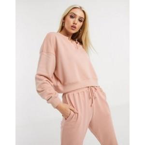 Missguided two-piece crop sweatshirt in blush