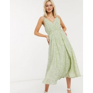 Moon River patterned ruched front midi dress