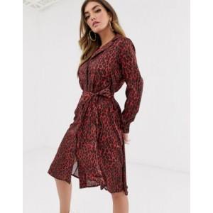 NA-KD leopard print tie satin dress