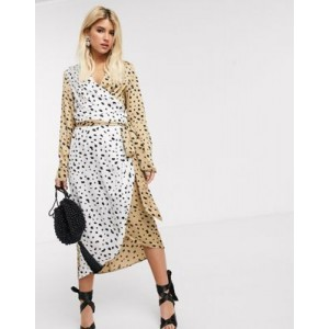 Never Fully Dressed wrap midi dress with belt in contrast leopard