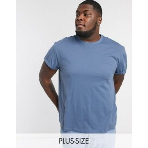 New Look Plus roll sleeve t-shirt in blue