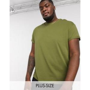 New Look Plus roll sleeve t-shirt in khaki