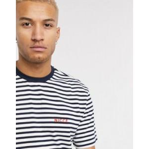 Nicce oversized stripe t-shirt in navy & white