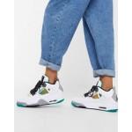 Nike Air Jordan 4 sneakers in white and green
