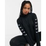 Nike Running swoosh half zip top in black