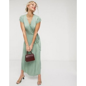 & Other Stories satin short sleeve midaxi dress in dusty green
