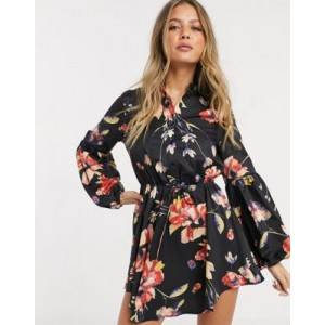 Parisian short dress with puff sleeves in WATERCOLOR floral print