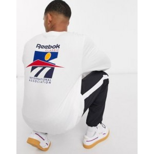Reebok Classics long sleeve t-shirt with international sports back print in white