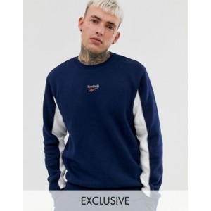 Reebok sweatshirt with central logo and panels in navy Exclusive to Asos