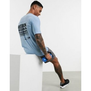 Reebok Training graphic t-shirt in blue with chest logo