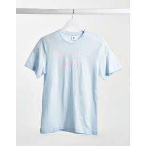 Reebok Training t-shirt in light blue with large logo