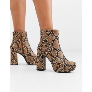 Steve Madden Grate platform ankle boots in snake print