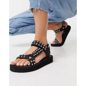 Steve Madden Henrly flat embellished sandal in black