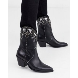 Steve Madden Howdy western boots in black and snake