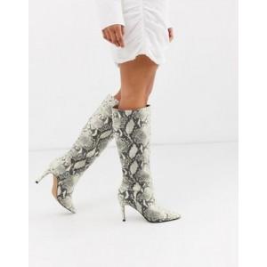 Steve Madden Kinga knee high heel boot in natural snake
