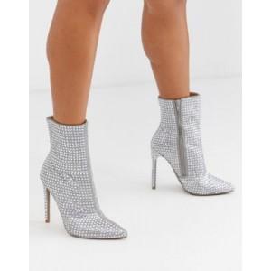 Steve Madden Winnings rhinestone heeled ankle boots in silver
