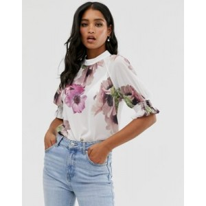 Ted Baker Cayliee puff sleeve floral top