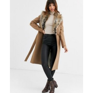 Ted Baker Corinna long wrap coat with faux fur collar