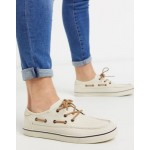 TOMS boat shoes in cream canvas