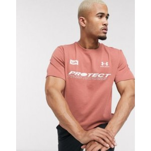 Under Armour back logo t-shirt in pink