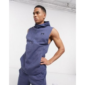 Under Armour Training double knit sleeveless hoodie in blue