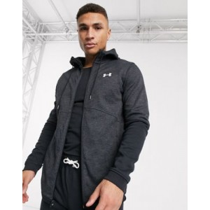 Under Armour Training FZ double knit hoodie in black